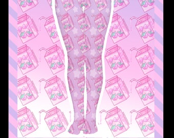 Pixel's Milk Box Tights menhera, gurokawa, guro kawaii, pastel fashion, nurse kei, menhera kei, printed tights, kawaii tights