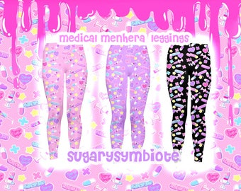 Medical Menhera Leggings menhera, gurokawa, guro kawaii, pastel fashion, nurse kei, creepy cute, printed tights, printed leggings, fairy kei