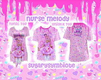 Nurse Melody Mesh T-shirt or Tunic Top menhera, gurokawa, guro kawaii, pastel fashion, nurse kei, creepy cute, menhera kei