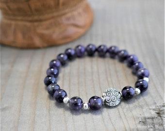 boho bracelet, gemstone beads bracelet, amethyst beads, sterling silver beads, stretched bracelet