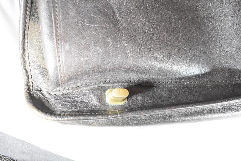 Vintage Black Leather Messenger BagBriefcase 50-60s