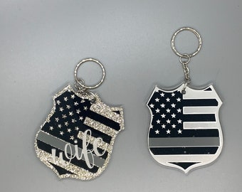 Correctional Officer Wife Keychain Thin Gray Line Keychain Correctional Officer Badge Keychain