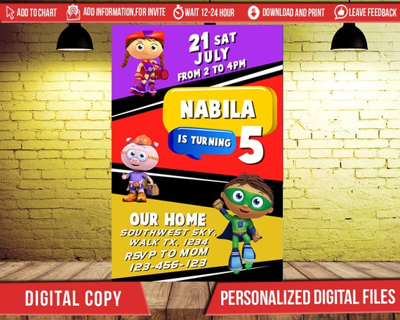 Super why invitationsuper why birthdaysuper why partysuper etsy image 0 filmwisefo