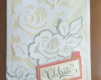 CELEBRATE! Wedding / Engagement / Anniversary / Bridal Shower / Special Occasion Handmade Card - 5x7 inches - Roses in White, Pearl & Grey