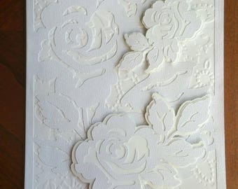 Wedding / Engagement / Anniversary / Bridal Shower / Special Occasion Handmade Card - 5x7 inches - Roses in  Creamy White & Pearl Cardstock