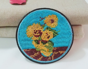 Van Gogh patch,sunflower patch,impressionism patch,iron on patch,embroidered patch,patch for jacket ,DIY ,applique,patch for backpack