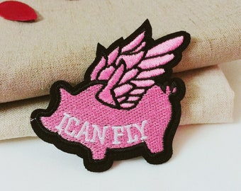 pink flying pig patch-I can fly patch-iron on patch-funny patch-embroidered patch-diy-applique-patch for jacket