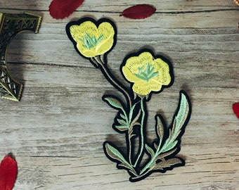 yellow tulip patch-iron on patch-embroidered patch-gorgeous-diy-patch for jacket -sew on -lovely