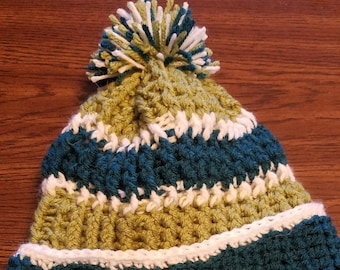 Green & Teal Crocheted Winter Hat