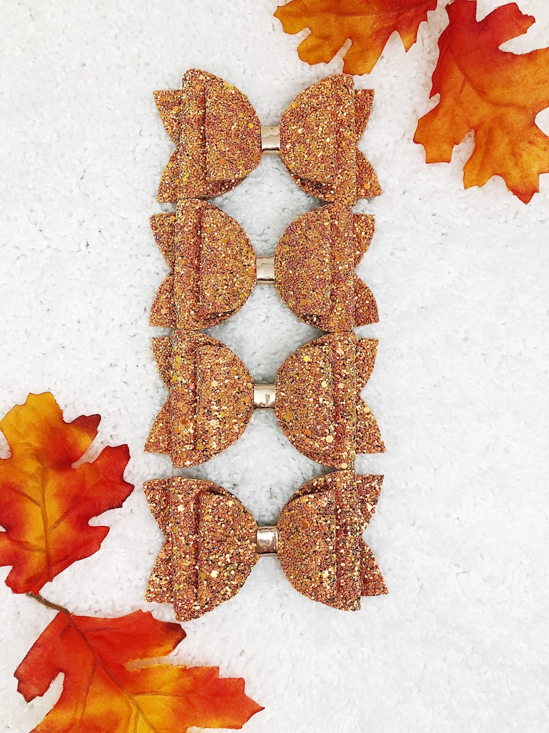 Pumpkin Spice Glitter Bow