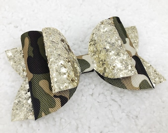 Camouflage Gold Glitter Bow