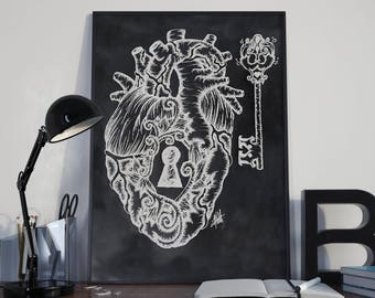 Heart and Key Drawing - Digital Download Printable - Chalkboard illustration Design - Drawing - Wall Hanging - Home Decor