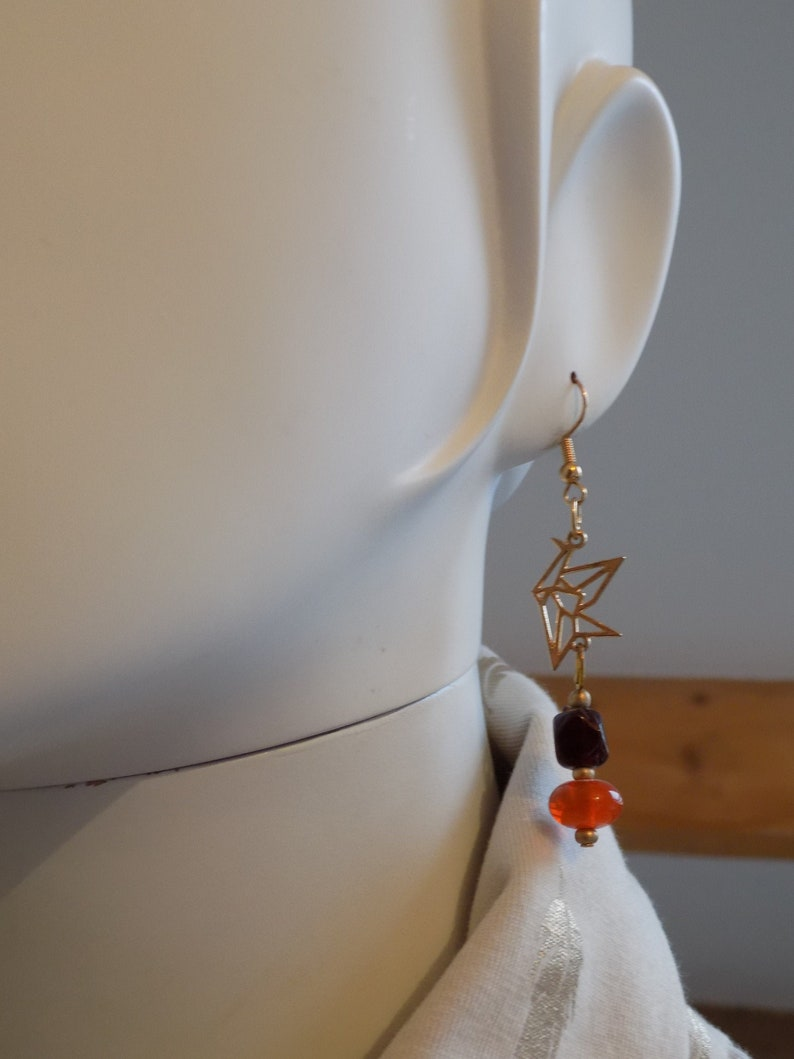 Birds earrings  gold color  pearls image 0