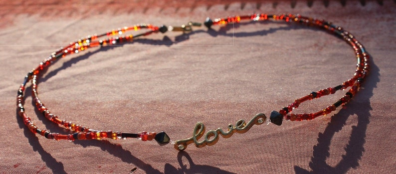 LOVE necklace  gold and orange-red pearls only to order image 0