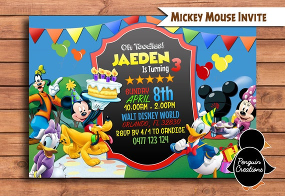 Mickey Mouse Club House Invitation. Mickey Mouse Birthday | Etsy