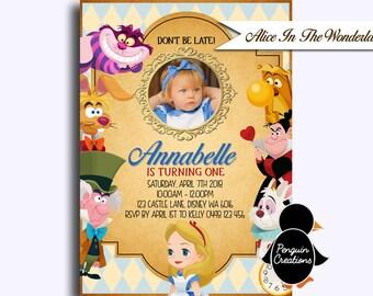 Alice in the Wonderland Invitation. Alice in the Wonderland Tea Party. Garden Birthday Party.