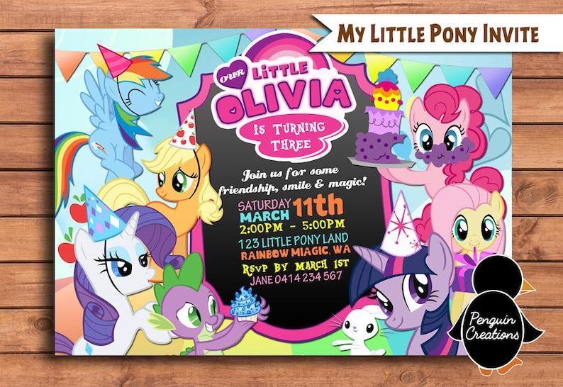 My Little Pony Invitation Birthday Party