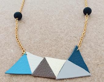 geometric leather necklace