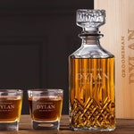 Groomsmen Gift, Personalized Whiskey Decanter Set with Box, Groomsmen Whiskey Glasses