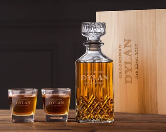 Groomsmen Gift - Personalized Whiskey Decanter Set