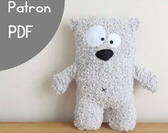 60e5be7f6ad patron - tuto de tricot PDF pour réaliser Albert l ours polaire - peluche  doudou pour petits et grands enfants
