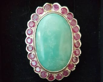 Genuine Ruby and Turquoise Ring