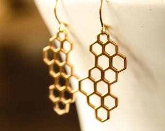 Honeycomb Earrings, Sterling Silver Plated Bronze or Bronze and Gold Filled, Beehive Honeybee, Geometric Pendant, Hexagon Pattern Honey Comb