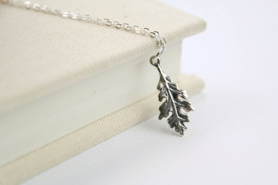 Leaf Necklace 925 Sterling Silver Pendant Tree Fall Outline Leaves Trees NEW
