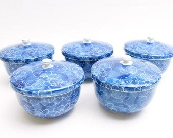 Yunomi Tea cups With lid.Arita ware. set of 5.Vintage Japanese Porcelain.by Zuigyoku.1970s.Sumihajiki.Hand-painted.#ynm19.msjapan