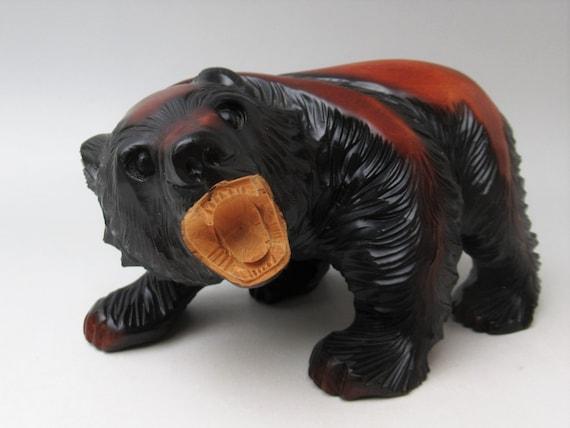 Folk art of HOKKAIDO Free shipping msjapan: kum4 Vintage AINU bear wood carving