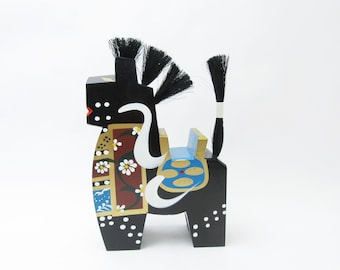 Large Yawatauma (Black).Wooden horse.Vintage Japanese Folk Art.1970s. 238mm.#fa91.msjapan