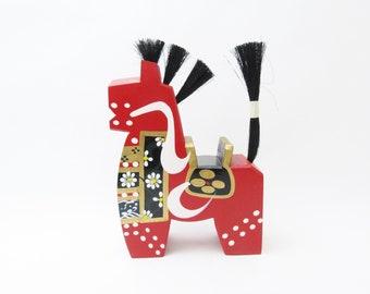 Large Yawatauma (Red).Wooden horse.Vintage Japanese Folk Art.1970s. 230mm.#fa90.msjapan