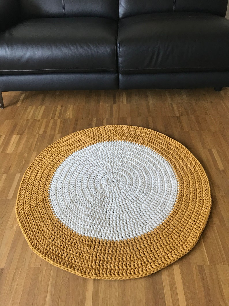Teppiche Skandinavische Teppich Many Sizes Round rug Modern CROCHET RUG Nursery Carpet MUSTARD crochet rug Many Colors Children rug