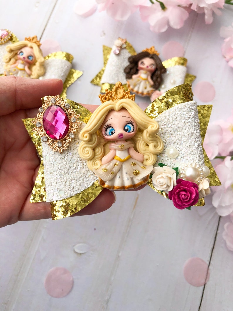 luxury hair bow white and gold hair clip gold glitter headband girls gifts Princess bows princess headband luxury princess bow