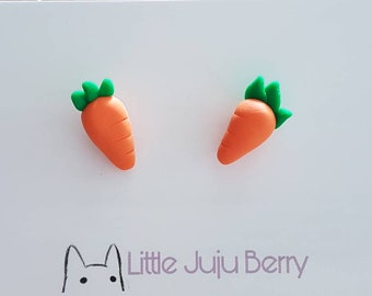 Carrot Polymer Clay Studs