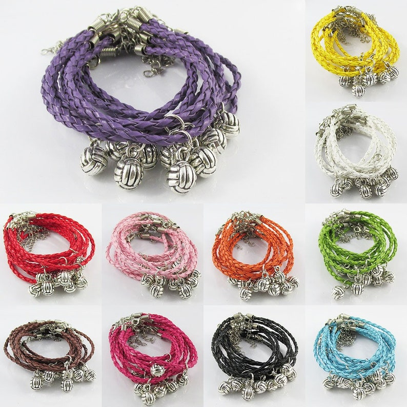 10 Player Set 3D Netball Charm Bracelet Braided Cord Team Gifts Pick Colour