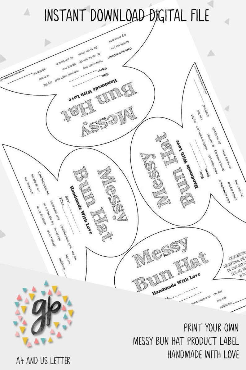 90215aa0f86 Product Label For Messy Bun Hat Printable Handmade Label