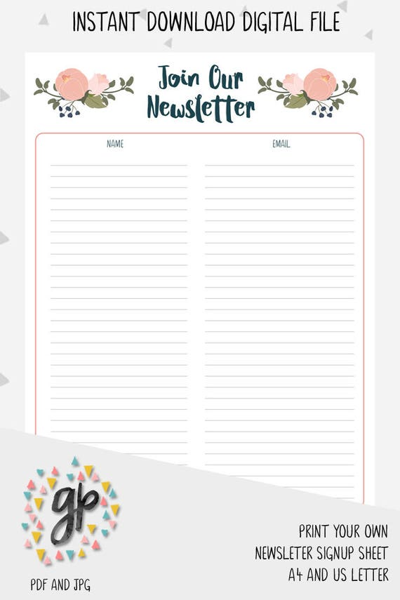 newsletter sign up sheet email subscription list handmade etsy