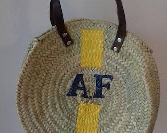 Round basket, basket, roundbasket, roundbag me bag, bag, handbag, beachbasket beachbag, fashion, fashion, trendy, personalized basket, personalized b