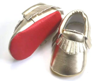 2ac7de5dbf6 Gold Buba Boutins - red sole baby shoes
