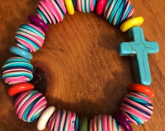 Color Clay Bead Cross