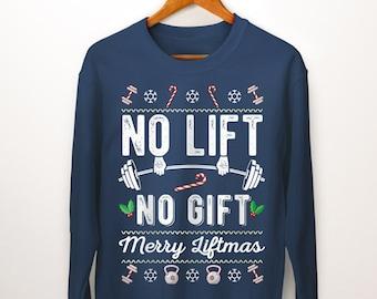 ed6fbe14aefe13 Merry Liftmas Sweater. Ugly Christmas Sweatshirt. Fitness Apparel. Mens  Christmas. Womens Christmas. Fitness Gifts. Womens Workout