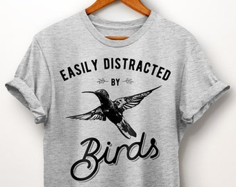 3ec52539cf9f Bird Lover Gift. Easily Distracted By Birds Shirt. Bird Watcher. Birds Shirt.  Bird Shirt. Clothing with Birds. Ornithology. Women Bird Shirt