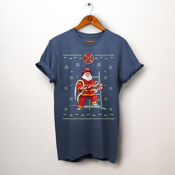 Firefighter Christmas Shirt.Fireman Shirt Firefighter Shirt Christmas Gift Fireman Santa Ugly Christmas Shirt Fireman Gifts Firefighter Gifts Firefighter Birthday
