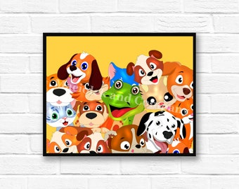 Iguana, Dog, Cat, Children's Book Art, Wall Art, Nursery Room Art, instant download, digital print, digital art, 8x10