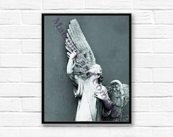 Angel, Archangel, European Statue, Photo, Wall Art, Czech Statue, instant download, digital print, digital art, 8x10, black and white