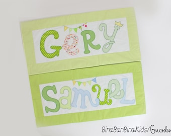 Personal pillow covers with appliqued name. Pillow case
