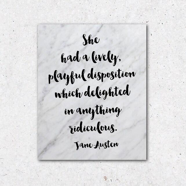 Impresión de cita de Jane Austen literatura de regalo para el | Etsy