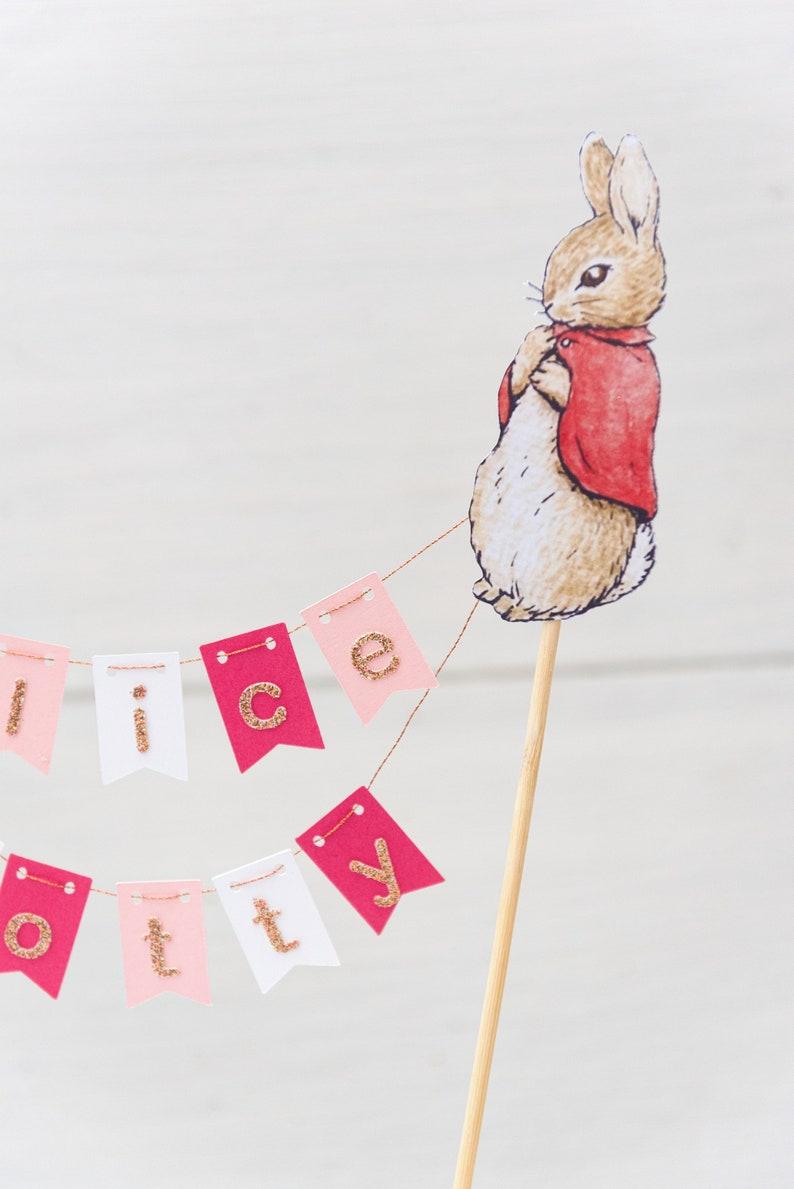 FLOPSY Rabbit Bunting style cake topper. Birthday | Etsy
