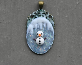 winter cameo/frame with snowman, snow, cold, christmas, xmas, holidays, kawaii, charm, polymer clay, cute, pendant, wintercharm, xmascharm